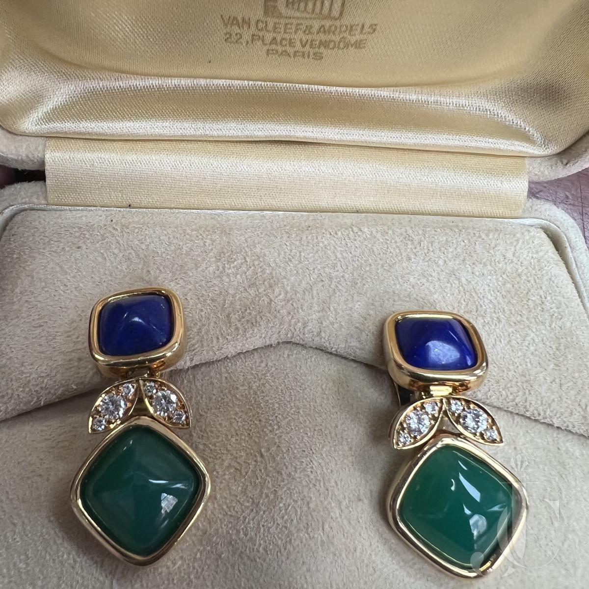 Van Cleef & Arpels Lapis, Chrysoprase and diamond Earrings