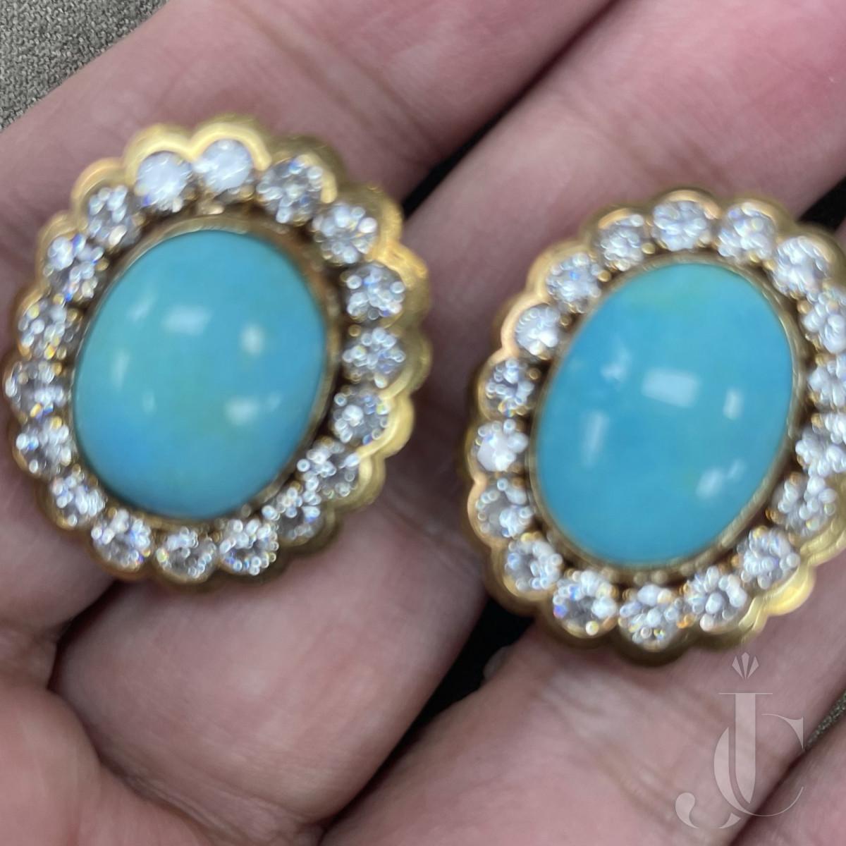 Van Cleef & Arpels Turqoise and Diamond Earrings Pair