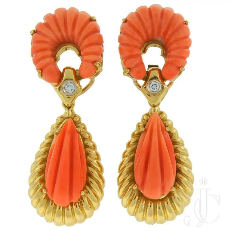Van Cleef & Arpels Coral Diamond Earrings