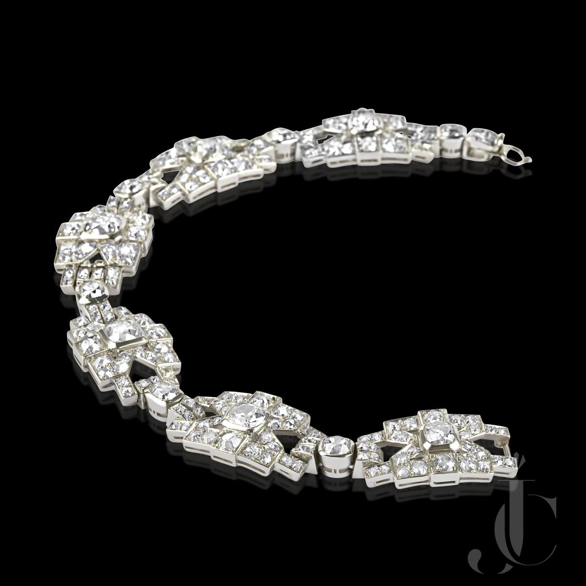 White Gold & Old Cut Diamond Bracelet