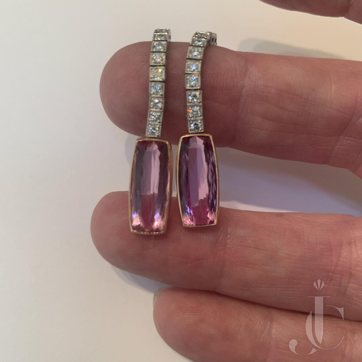 Pink Topaz, Diamond Earrings
