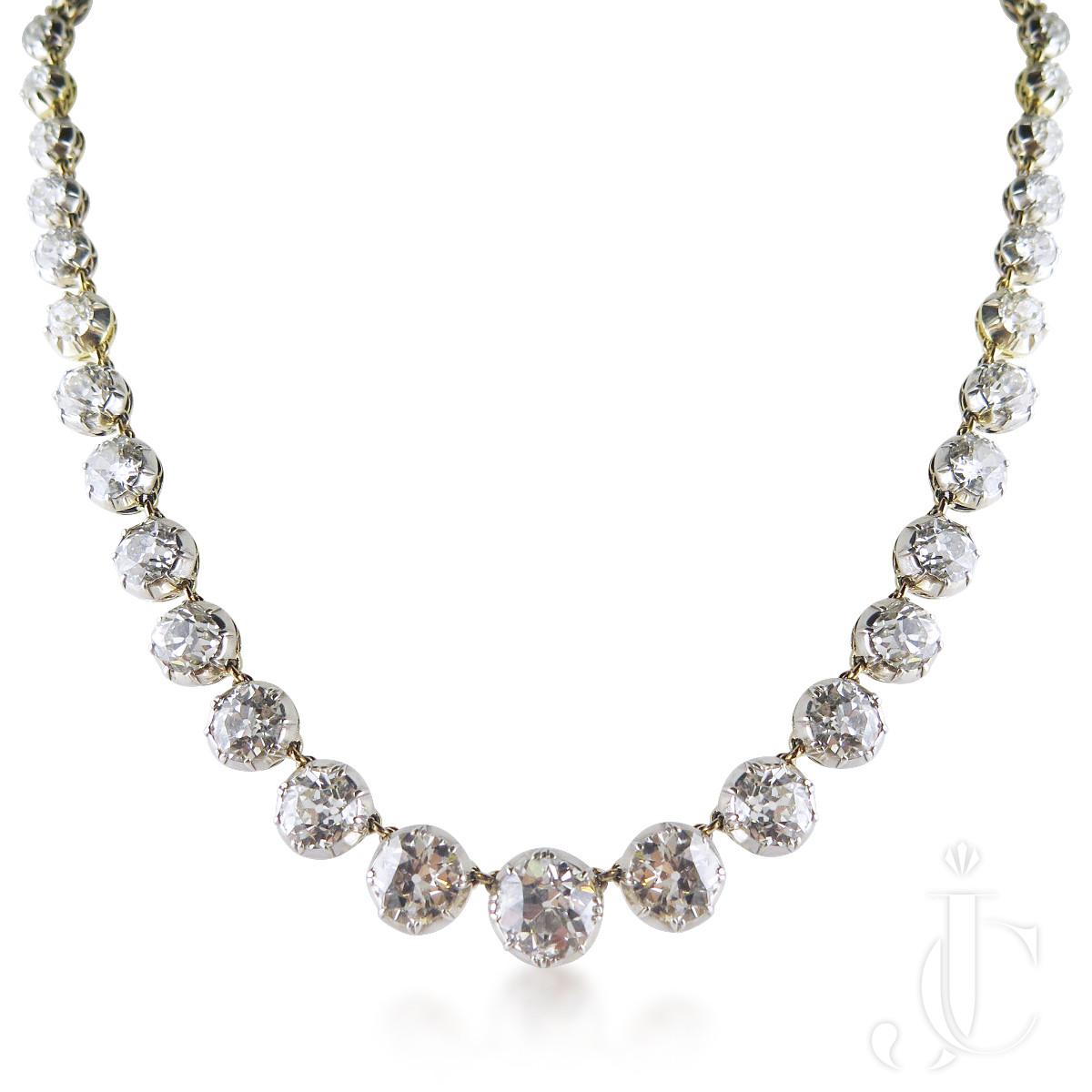 Antique Diamond Rivière Necklace