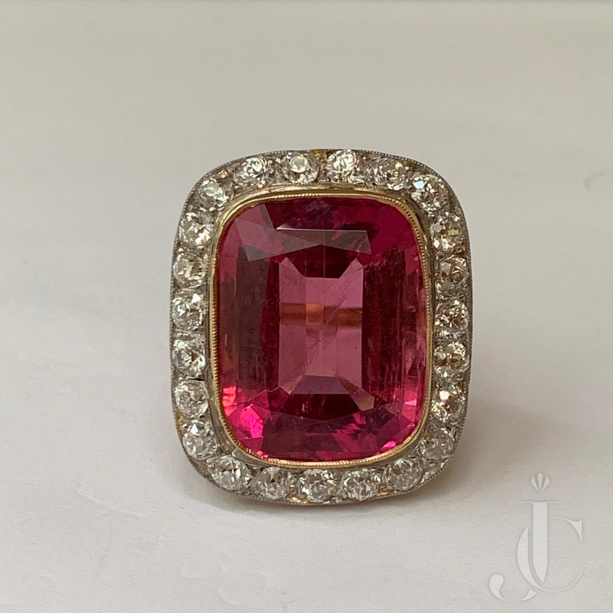 A Large Rubellite and Diamond Ring