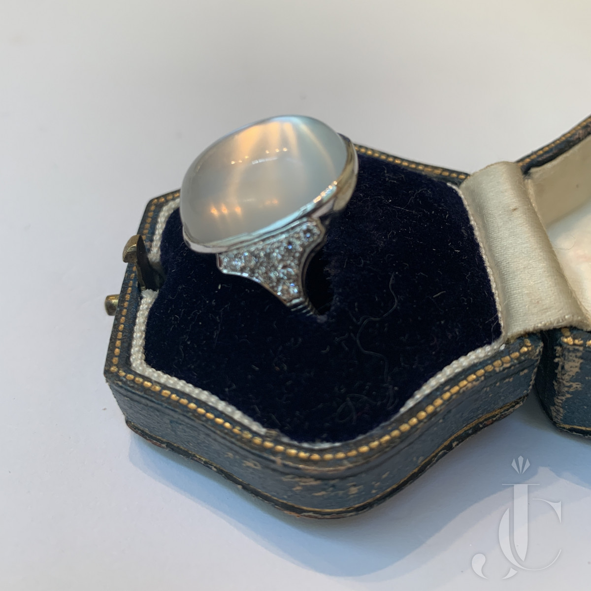 French Moonstone and Diamond Ring C1930