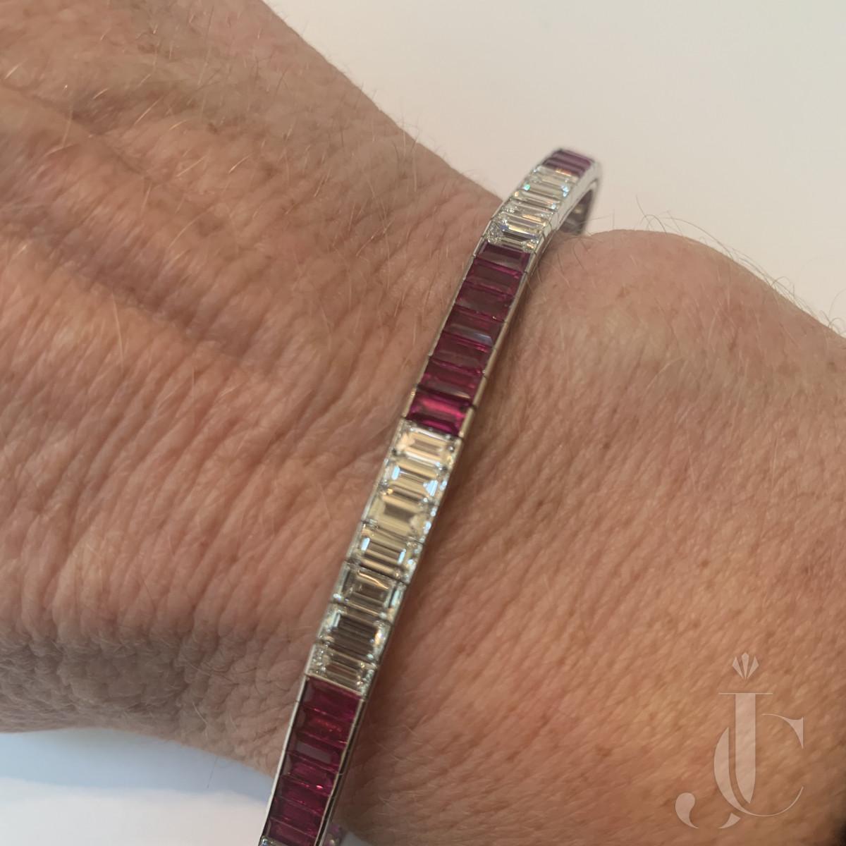 Ruby, and Diamond (Burma no heat) Line Bracelet