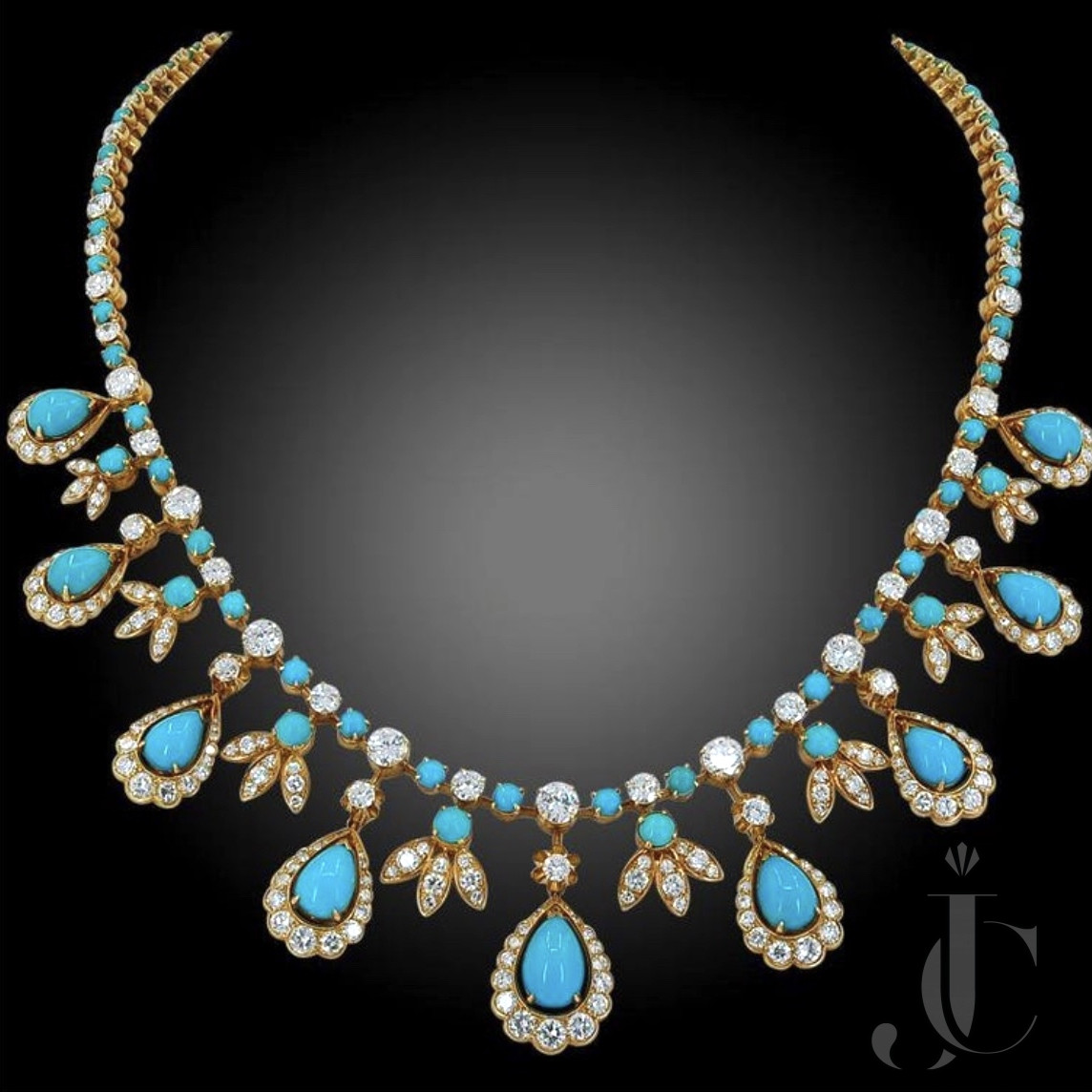 Van Cleef& Arpels Vintage French 1950's Turqoise, Diamond Necklace in 18 KT Gold
